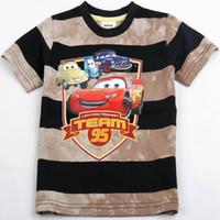 Wholesale Mcqueen Cars Shirt - Nova Kid Summer Wear 18m-6y Children boy mcqueen striped cartoon cars shirts 100 cotton short sleeved t shirt brand new