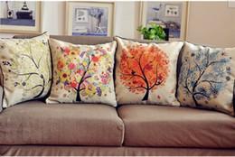 Wholesale Burlap Pillows Covers - Free shipping Decorative Burlap Cushion Cover, Pillow Case Pillow cover 4 Seasons of the tree 4 pcs lot
