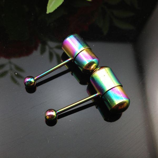 Zunge Piercing Bolzen-Edelstahl Zunge Ringe vibrierender Rianbow Farbe Barbell Zunge T43