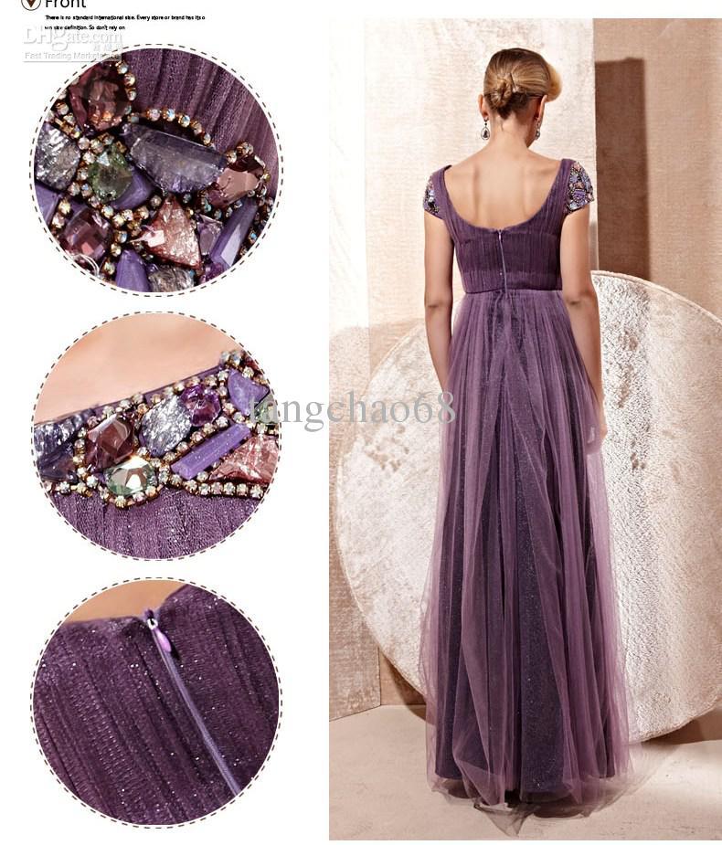 88aab70011 Heavy Stone Purple SExy Short Sleeve Scoop Designer Low Open BackTulle  Foldings Long Formal Evening Dresses