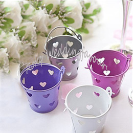 tin boxes wholesale NZ - 70pcs Hollow Out Heart Tin Pails Mini Pails Favors Mini Bucket Candy Boxes Birthday Package Favors Event Anniversary Table Decors
