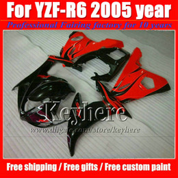 Wholesale High Quality Fairing Body Kit - Popular motorcycle fairings for YZF-R6 2005 YAMAHA YZF R6 05 YZFR6 high quality black red fairing body kits with 7 gifts Gk27