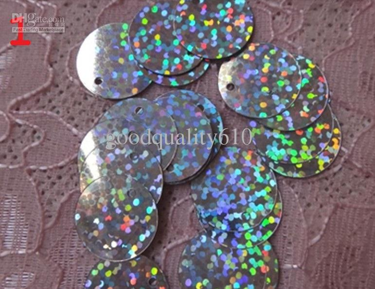 15mm forma redonda holograma lentejuelas agujero para los zapatos de boda Fascinator Craft