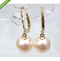 Wholesale Ear Hook Flower - PERFECT ROUND AAA+++ SOUTH SEA 9-10 MM PEARL DANGLE EARRING 14K Gold ear hook