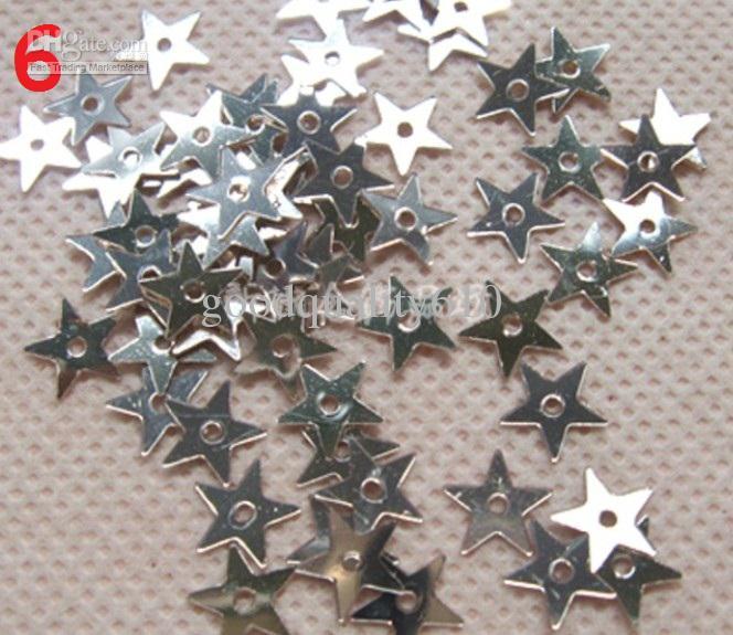 10000 unids 7 mm estrella de cinco puntas forma holograma lentejuelas agujero para zapatos de boda Fascinator Craft