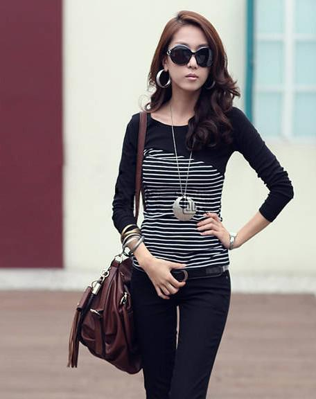 Moda mujer blusas de rayas Camisas y tops Blusas coreanas camisetas manga larga otoño blusas de fondo más el tamaño para las niñas
