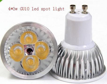 Gratis verzending High Power 12W 4x3W dimbaar GU10 / MR16 / E27 / E14 LED Light Lamp Spotlight LED-lamp