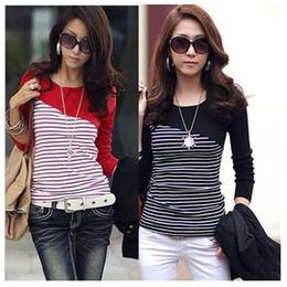 Wholesale Korean Long Sleeves For Girls - Fashion Women Stripe Blouses Shirts and Tops Korean blouses t shirts long sleeve autumn bottoming blouses plus size for girls