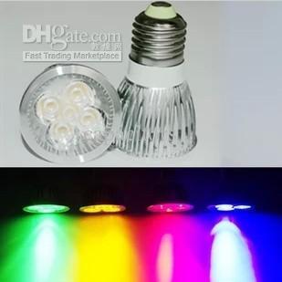 الشحن مجانا عالية الطاقة 4x1W E27 بقيادة مصباح ضوء مصباح بقيادة مصباح ، أحمر / أزرق / أخضر / أصفر اللون