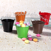Wholesale tin buckets favors online - 100PCS DHL Colors Mini Tin Pails Wedding favors mini bucket favors Tin candy boxes tin mini pails favors