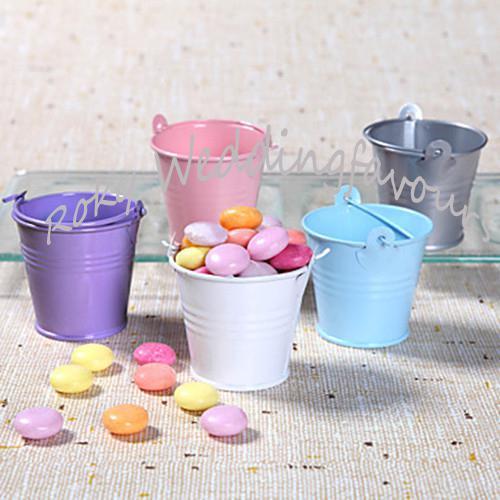 / ! 분홍색 깡통 Pails 결혼식 호의, 결혼식 호의 작은 양동이, 소형 pails, 주석 사탕 상자