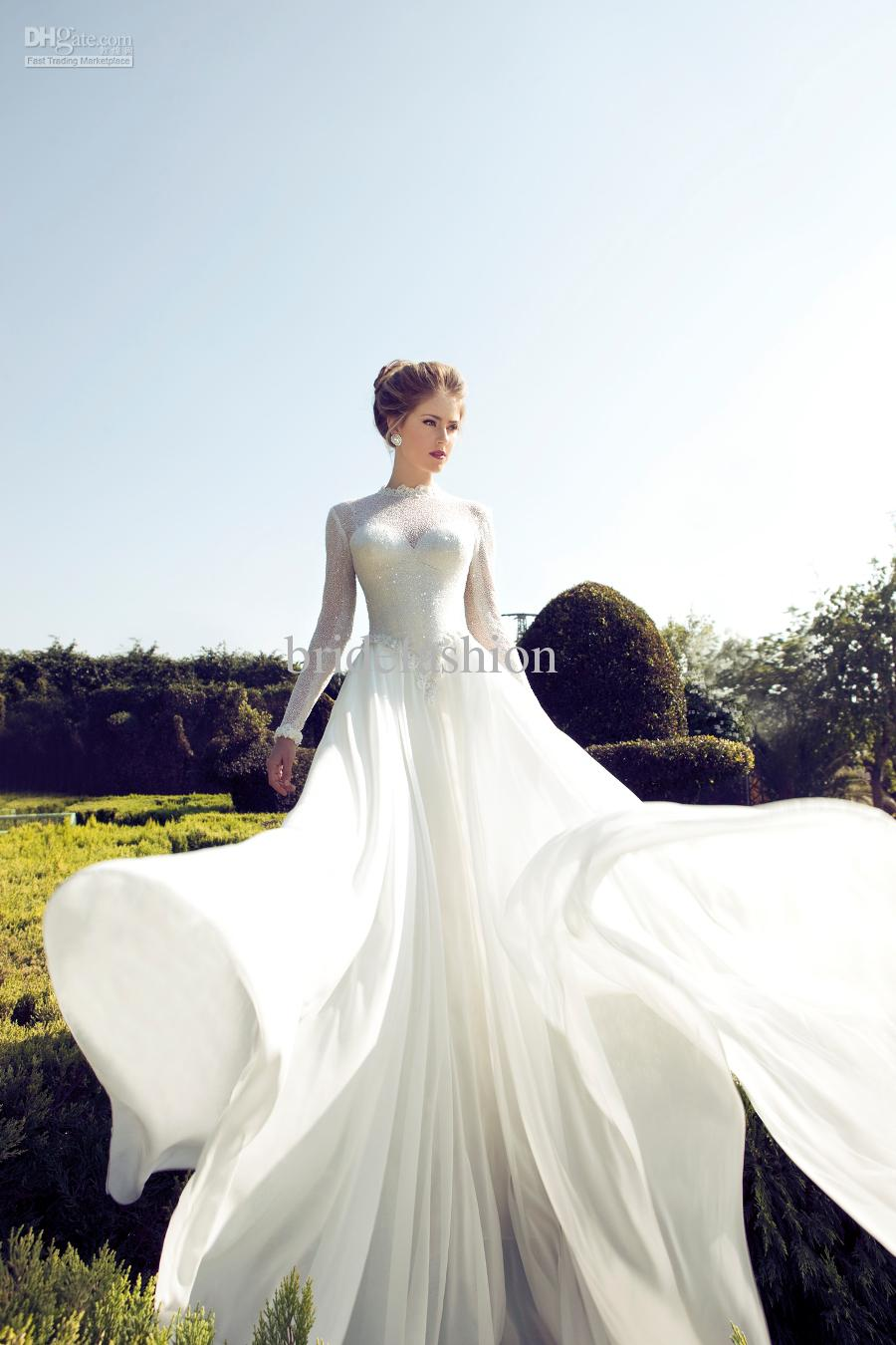 New arrival!!High Quality 2014 Vintage Style Beautiful A-line Long Sheer Sleeves Lace White Ivory Bridal Wedding Dresses