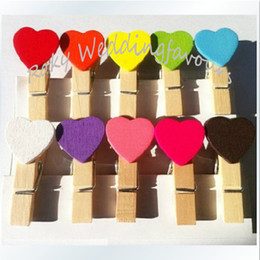 Wholesale Mini Red Wooden Pegs - Free Shipment 100pcs Handmade Wooden Love Mini Wooden Clothes Peg Mini Heart Shape Wooden Clip for Wedding Favors