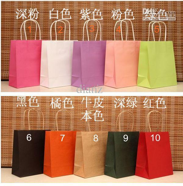 10 kleur modieuze cadeau papieren zak, kraft papieren zak festival gift pakket, nieuwe lege geschenk papieren zak