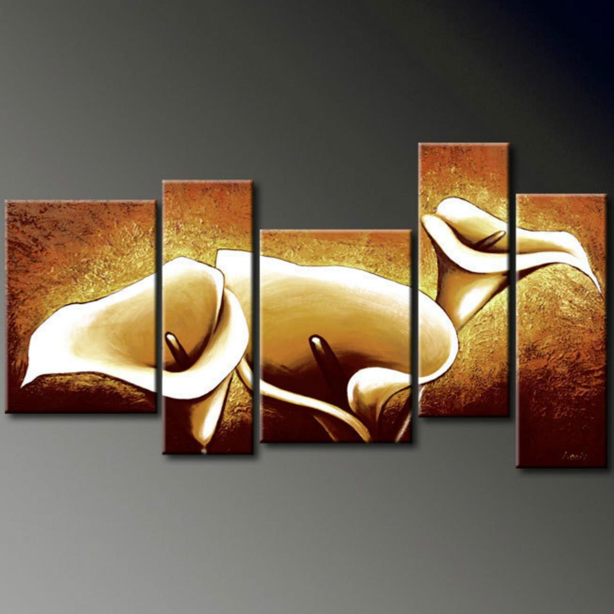 Abstract wall art painting - Hot Sell Lilies Modern Abstract Wall Art Oil Painting On Canvas No Frame