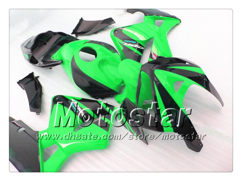 Carenados de carrocería para HONDA CBR600RR F5 2005 2006 CBR 600 RR 05 06 CBR 600RR verde brillante con carenado negro set st54
