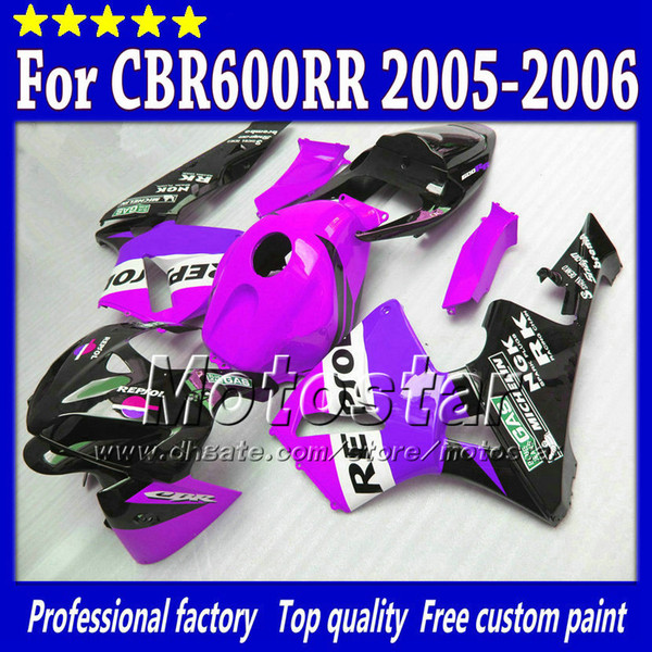 7Holds için HONDA CBR600RR F5 2005 2006 CBR 600 RR 05 06 CBR 600RR karoser kaplamaları parlak mor siyah Repsol kaporta seti st60