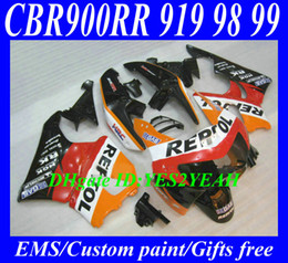 Wholesale Cbr Repsol Body Kit - Fairing kit for HONDA CBR900RR 98 99 CBR 900RR CBR900 CBR 900 RR 919 1998 1999 REPSOL red orange Fairings body kit+7gifts Hs22