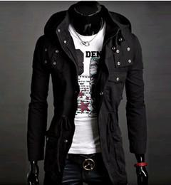 Wholesale Trend Hoodie - high-quality black Men's Hoodie men's Jacket SWEATER Men's coat Cotton Hooded Coat Korean Trend in long jacket men coat