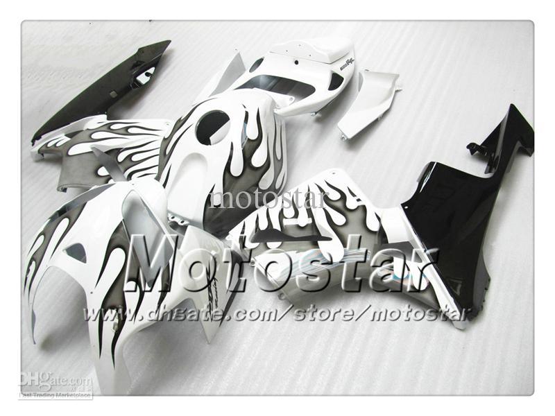 Karosserieverkleidungen für HONDA CBR600RR F5 2005 2006 CBR 600 RR 05 06 CBR 600RR schwarz flammig im weiß glänzenden Verkleidungsset st66