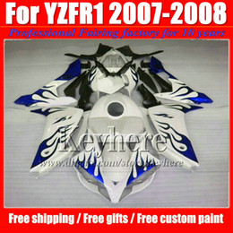 Wholesale Yamaha R1 White Body Kit - Customize motorcycle fairings for YAMAHA YZFR1 07 08 ABS fairing kit YZF R1 2007 YZF-R1 2008 blue flame in white body kits with 7 gifts Ip27