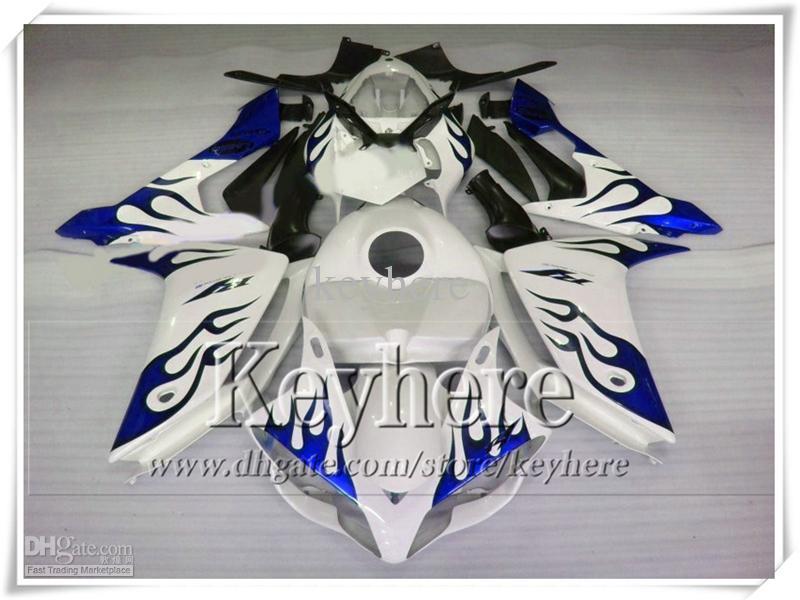 Personaliseer Motorfietsenballen voor Yamaha YZFR1 07 08 ABS Fairing Kit YZF R1 2007 YZF-R1 2008 Blue Flame in White Body Kits met 7 geschenken IP27