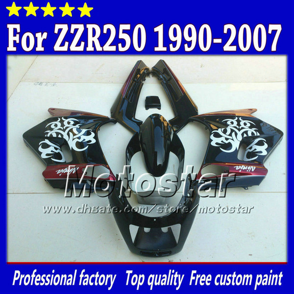 7 gifts fairings set for Kawasaki ZZR-250 ZZR250 ZZR 250 1990 -2007 90-07 glossy white in black red fairing body kit st75