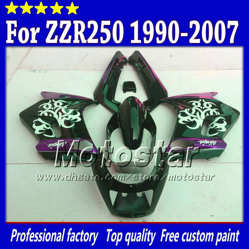 7 Gifts Fairings Set For Kawasaki ZZR 250 ZZR250 1990 2007 90 07 Glossy White In Black Purple Fairing Body Kit St78 Cheap Aftermarket Motorcycle
