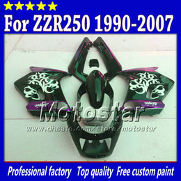 zzr fairing set Canada - 7 gifts fairings set for Kawasaki ZZR-250 ZZR250 ZZR 250 1990 -2007 90-07 glossy white in black purple fairing body kit st78
