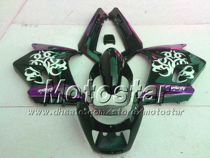 7 gifts fairings set for Kawasaki ZZR-250 ZZR250 ZZR 250 1990 -2007 90-07 glossy white in black purple fairing body kit st78