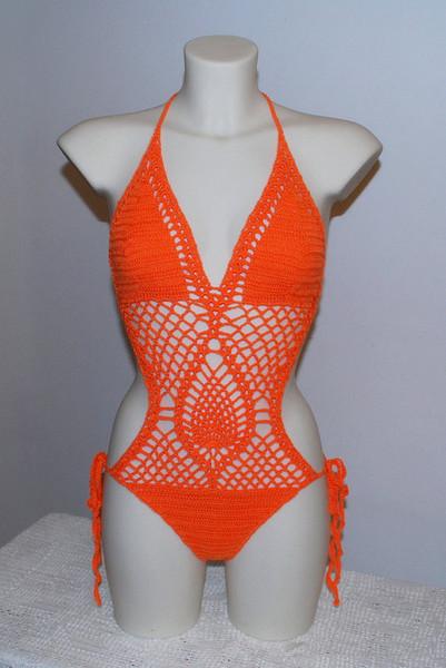 Women Sexy Crochet By Hand Piece Pineapple flower Swimsuit Crochet Bikini Hollow Crochet Swimwear custom colors free shipping SY6638