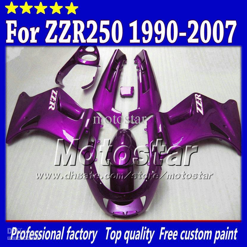 7 Gifts Fairings Set For Kawasaki ZZR 250 ZZR250 1990 2007 90 07 All Glossy Dark Purple Fairing Body Kit St86 Aftermarket Motorcycle Kits