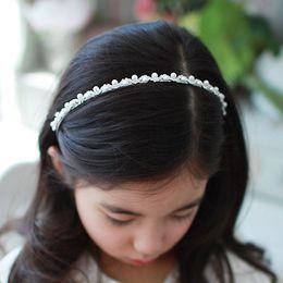 Wholesale Little Girls Jewelry Wholesale - Lovely Little Princess Headbands Pearl Headdress Hair Rhinestone Jewelry Child Christmas Girl Accessories Gifts