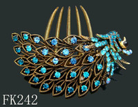 Wholesale Blue Peacock Combs - Wholesale Vintage Hair Jewelry peacock Zinc alloy rhinestone hair combs Hair Accessories Free shipping 12pcs lot mixed color FK242
