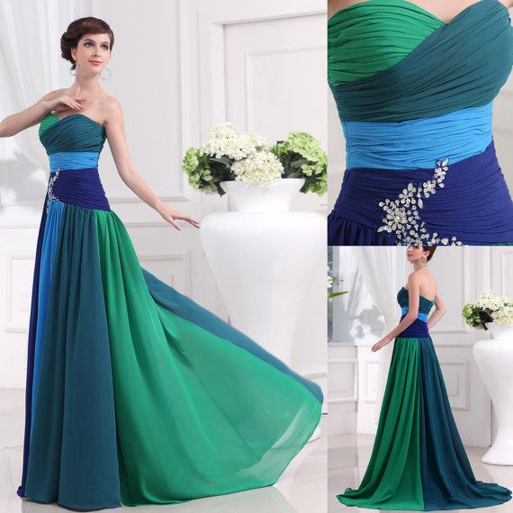Beaded Chiffon Prom Dress Green/Blue Mix Color Special Design Long ...