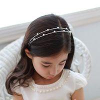 Wholesale Crystal Double Headbands - Double Pearl And Rhinestone Hair Jewelry Cute Children Headbands Kids Headdress Lovely Girls Gifts HEADBANDS