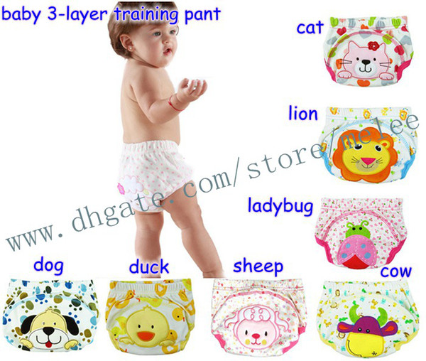 best selling Big Discount Animal Sassy 3-Layer Baby PP pants Panties Training Pants Baby Learning Pants Washable Baby Cotton Underwears 6Pc= 2 Color Pick