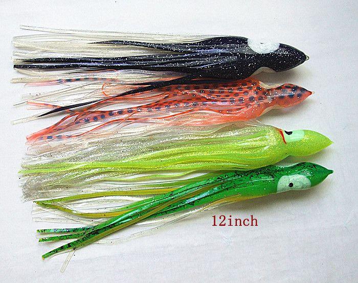 12 pulgadas Pulpo Falda Señuelo Aparejos de Pesca Suave Plástico Gusanos Señuelo de la Pesca Señuelo de la Sal Gran Juego Trolling Cebo de Pesca atún Falda Cebo