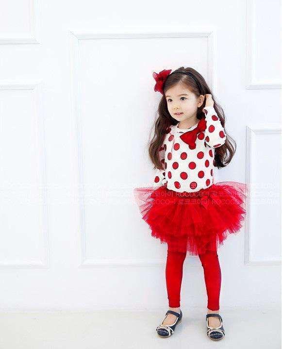 Niños primavera otoño conjunto de ropa punto de onda manga larga camiseta superior + hilo de red vestido de bola vestido de tutú leggings conjunto de niñas traje de niños QS474