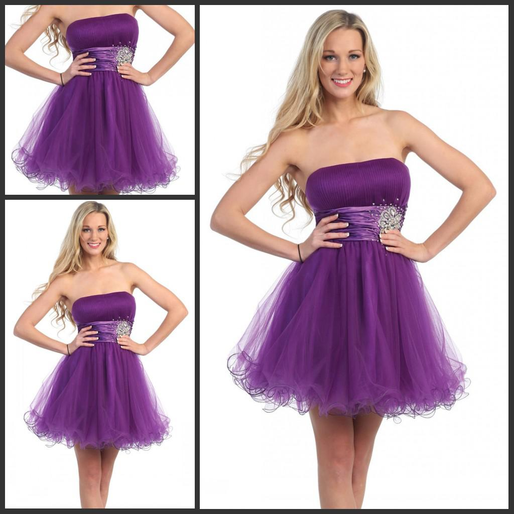2013 Homecoming Dress Patterns Strapless A Line Short Eggplant Prom ...