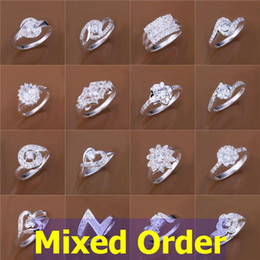 Wholesale Vintage Silver Rings 925 - 24pcs lot Mixed Order Vintage Elegant Styles Clear CZ Zircon Zirconia Stone 925 Sterling Silver Plated Rings #FR135