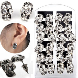 Wholesale Crystal Skull Studs - 36pairs lot Alloy Antique Sliver Tone Skull Rhinestone Eye Stud Earrings with Dispplay [JE20013*3]