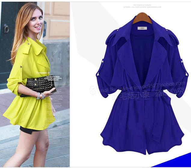 Autumn New Pure Color Frenum Loose Cozy Long Sleeve Women's Trench Coats Outwear 3 Color Choice