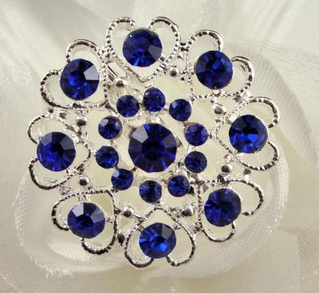 Zilver Tone Royal Blue Rhinestone Crystal Diamante Heart Broche Pin