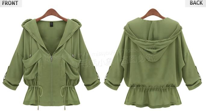 Autumn New Women Leisure Joker Drawstring Short Outwear Trench Coats
