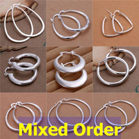 Wholesale Earrings Wholesale Mixed Order Silver - 24pcs lot Mixed Order Fashion Vogue Round Oval Dangle Hoop Ring 925 Sterling Silver Plated Drop Earrings #ER145