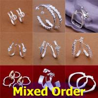 Wholesale Ear Cuffs Cz - 18pcs lot Mixed Order Fashion Semi Hoop Clip-on CZ Zircon Zirconia 925 Sterling Silver Plated Earrings #ER147