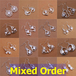 Wholesale Bijouterie Earrings - 20pcs lot Mixed Order Zirconia Bijouterie 925 Sterling Silver Plated Hollow Out Drop Earrings #ER148