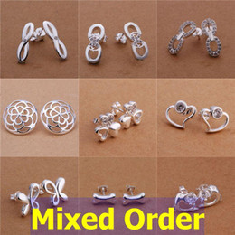 Wholesale Wholesale Country Floral - 24pcs lot Mixed Order Floral Country Style CZ Zircon Zriconia 925 Sterling Silver Plated Stud Earrings #ER150