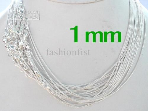Promotion Sale 925 Sterling Silber Glatte Schlangenkette Halsketten Schmuck 1.0mm 16 '' 18 '' 20 '' 22 '' 24 '' Mix Free